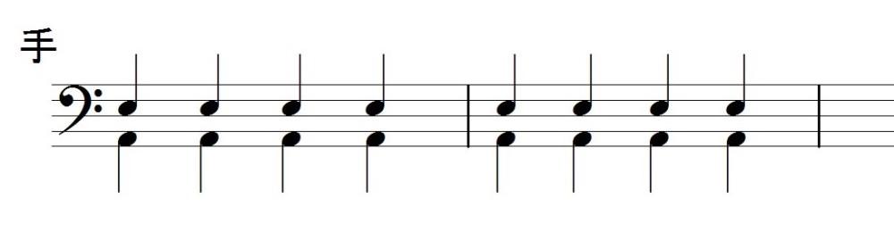 足と手で4分音符のリズムを叩く