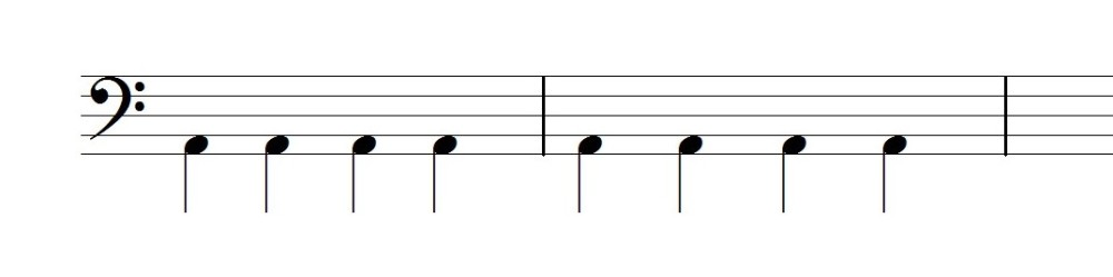 4分音符を足でリズムをとる